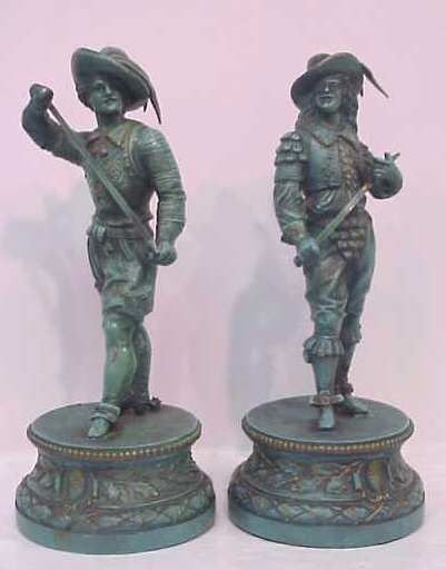 """23A: PAIR OF PAINTED METAL CAVALIERS, APPROX 13 3/4""""H"""