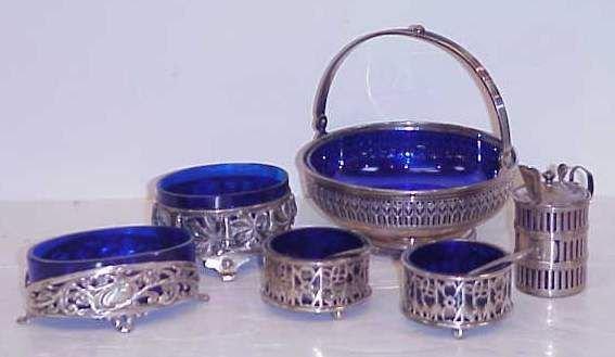25B:  6 STERLING & COBALT GLASS SALTS & CONDIMENT BOWLS