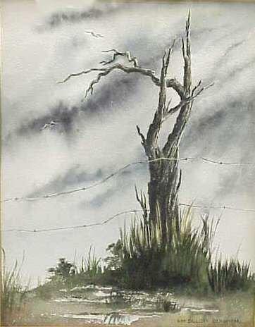 28: LANDSCAPE WITH TREE,WATERCOLOR,SIGNED ILSE BERGMAN