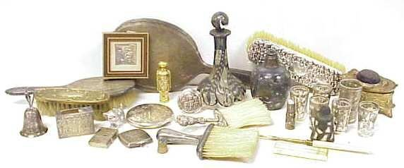 21: ASSORTED SILVER LOT,STERLING VANITY ITEMS & SILVER