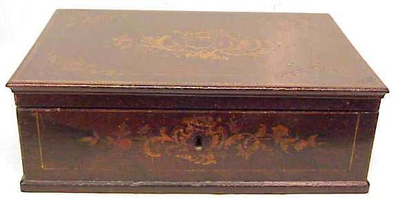 "1011: 19THC DRESSER BOX WITH FLORAL MARQUETRY, 4 1/2""H"