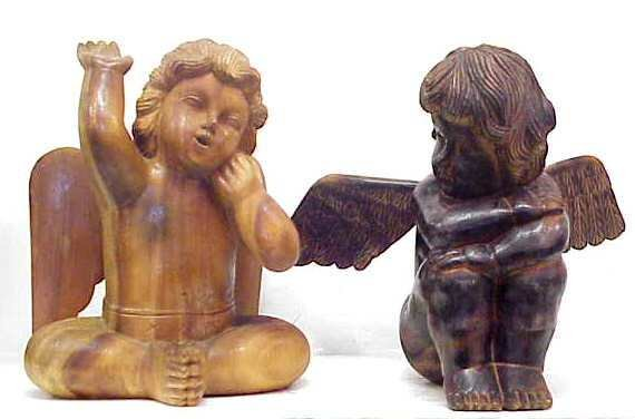 "1014: PR HAND CARVED WOODEN ANGELS, 14 1/2"" HIGH"