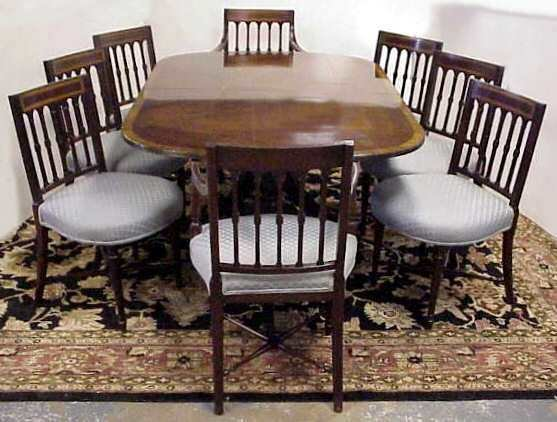 1150A: 8 SHERATON STYLE MAHOGANY DINING CHAIRS WITH INL