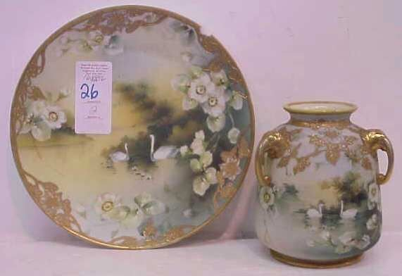 1026: TWO MATCHING PIECES OF NIPPON,SWAN PLATE & VASE