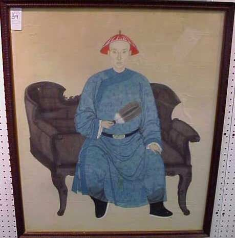1039: CHINESE WATERCOLOR PORTRAIT OF A SEATED MAN
