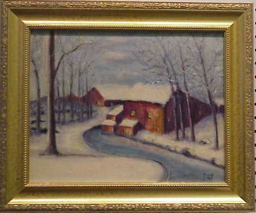 1032: SNOWY LANDSCAPE WITH BARN, OIL ON BOARD, SIGNED F