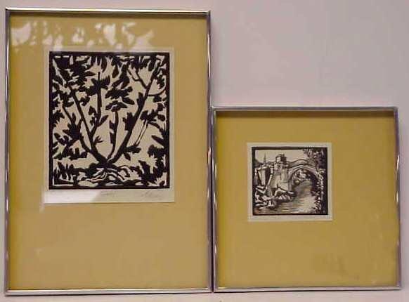 13: 2 WOOD BLOCK PRINTS, DATED 1971 & 1967, PENCIL SIGN