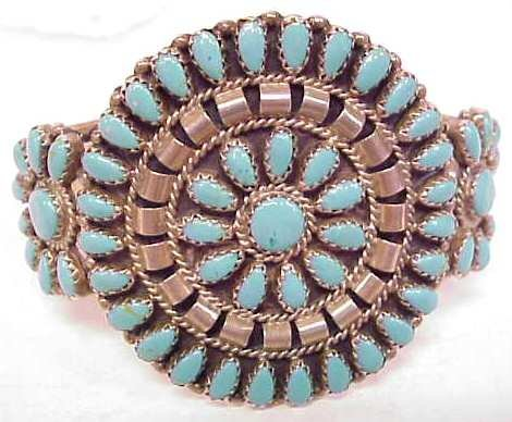 21: STELRING & TURQUOISE CUFF BRACELET, AMERICAN INDIAN