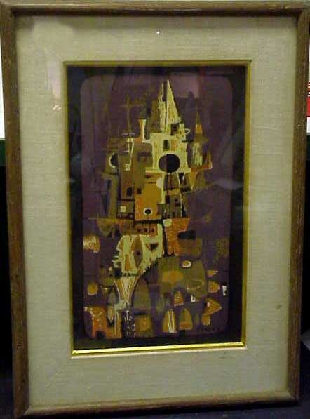 22: ABSTRACT COLOR LITHOGRAPH, SIGNED CHAVEZ IN PLATE,
