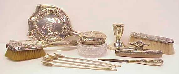 33: STERLING LOT: 4 PC DRESSER SET (MIRROR AS IS); STER
