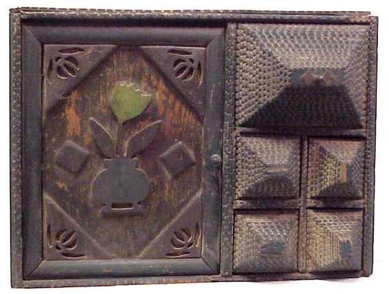 59A: TRAMP ART WALL HUNG CUPBOARD, ONE DOOR & 5 DRAWER