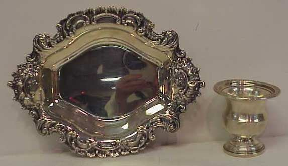 "1021: REED AND BARTON STERLING CANDY DISH 8"" X 6"" AND A"