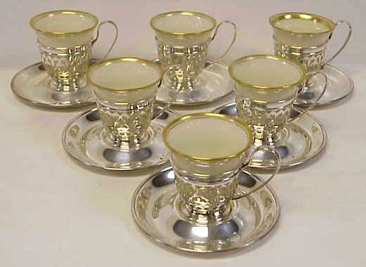 1027: 6 LENOX AND STERLING DEMITASSE CUPS AND SAUCERS,