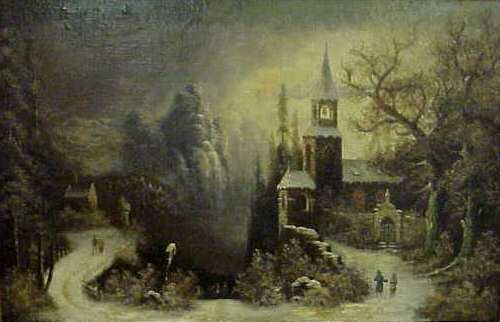 1137: 19THC EUROPEAN SNOWY LANDSCAPE WITH CHURCH AND FI