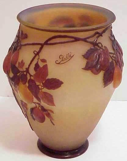 1152: GALLE ART GLASS PEAR BRANCH RELIEF VASE, AMBER, O