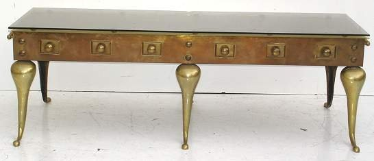 2010: 1970'S FRENCH COCKTAIL TABLE WITH GLASS TOP, LAQU