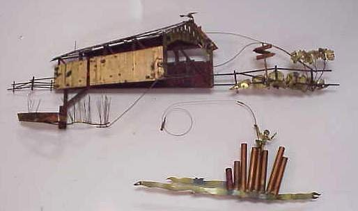 2012: C. JERE COVERED BRIDGE WALL SCULPTURE, BRASS & PA