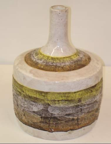 2011: RAYMOR POTTERY VASE, WHITE GROUND WITH ORANGE, YE