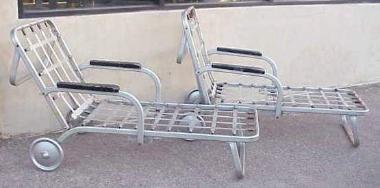2020A: PAIR OF ALUMINUM CHAISE LOUNGES c. 1930'S.