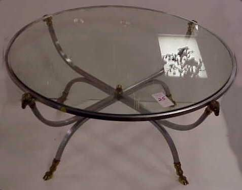 3025: POSSIBLY JANSEN STEEL AND BRASS ROUND GLASS TOP C