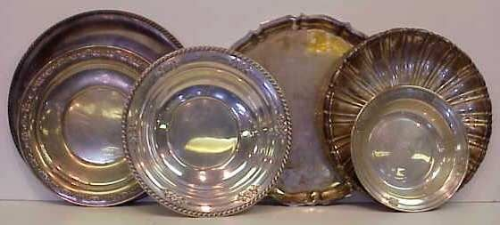 3123A: 3 STERLING PLATES & 2 STERLING BOWLS & TRAY: PLT