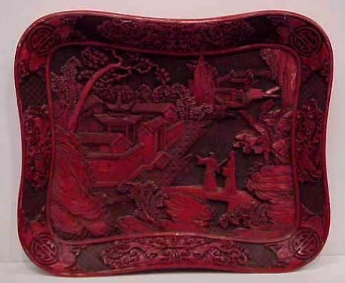3025A: HEAVILY CARVED CINNABAR FIGURAL PLAQUE, 11 3/4""