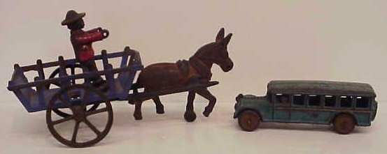 """22: VINTAGE IRON PAINTED BUS (2""""H X 6""""L); PAINTED IRON"""