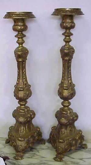 """23: PAIR OF BRASS ALTER STICKS, SOME LOSSES, 31""""H"""