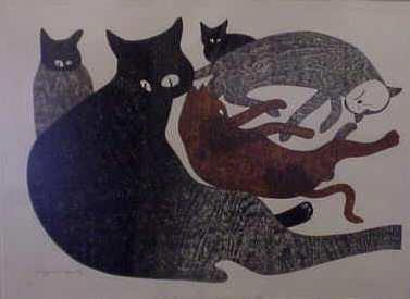 89A: KIYOSHI SAITO (1907-1992, JAPAN) WOODCUT PRINT OF