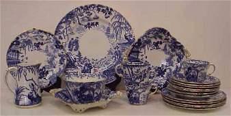 158: ROYAL CROWN DERBY PORCELAIN TEA SET, 25 PC, BLUE &