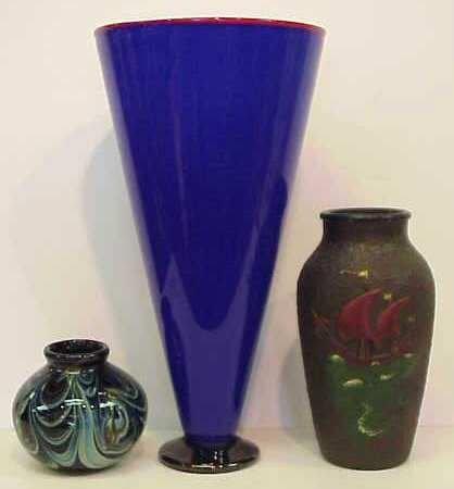 """29A: 3 ART GLASS VASES: SIGNED KARNIG '74 4 1/4""""H; SI"""