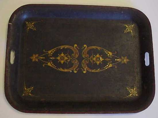1027: TWO ANTIQUE TOLE PAINTED TRAYS, ONE WITH CHIOSERI