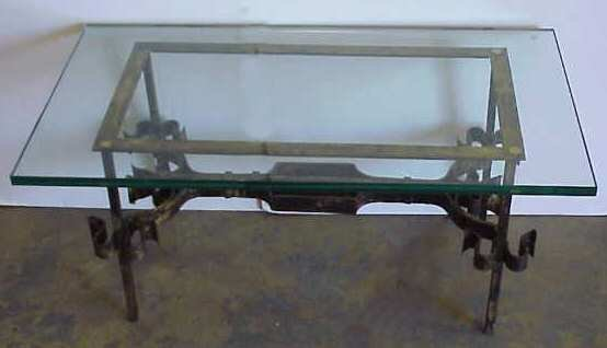 1048: POILERAT STYLE 1950'S GILT IRON COFFEE TABLE WITH
