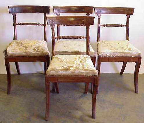 1198: 4 ANTIQUE REGENCY SIDE CHAIRS, CARVED MAHOGANY, 3