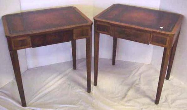 1235: PR WEIMAN MAHOGANY LEATHER TOP END TABLES, MARKED