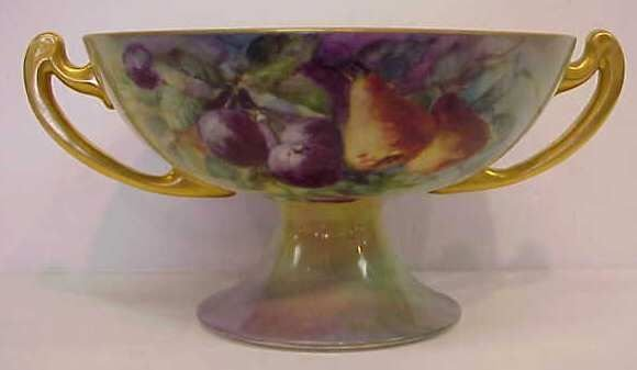 1028: HANDPAINTED DOUBLE HANDLED COMPOTE, MADE IN JAPAN