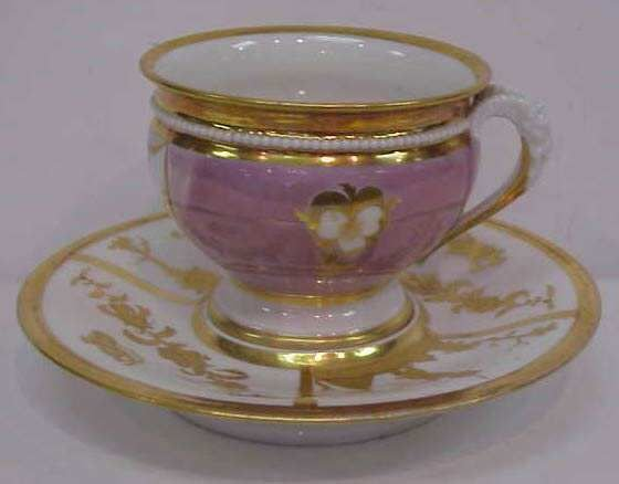 1043: ANTIQUE FRENCH PORCELAIN CUP & SAUCER WITH LUSTRE