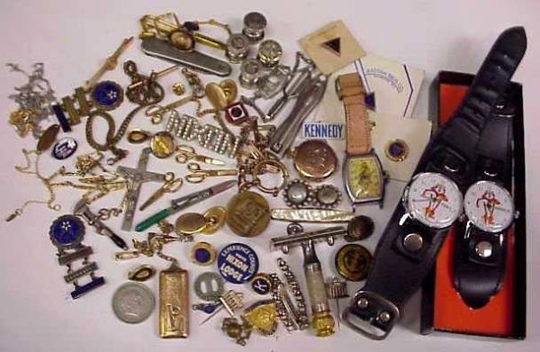 1014A: LOT MOSTLY MEN'S JEWELRY, INCLUDING PEN KNIVES,
