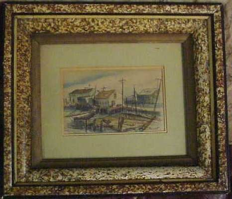1018: WHARF SCENE WITH BOATS, WATERCOLOR, SIGNED LAMONT