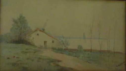 1019: CABIN ON THE LAKE, WATERCOLOR, SIGNED C. WEITKAMP