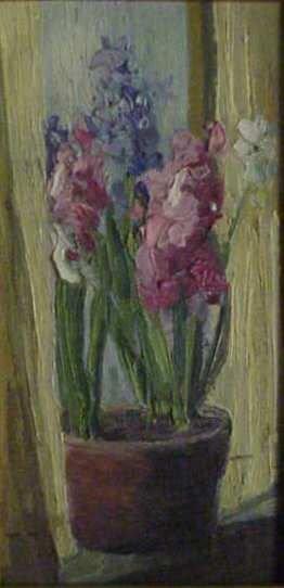 1243: STILL LIFE OF FLOWERS BY THE WINDOW, OIL ON BOARD