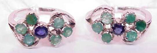 2029: TWO 10K WHITE GOLD RINGS WITH EMERALDS AND SAPPHI