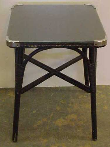 2034: SIRRONI PAINTED BLACK WICKER TABLE WITH GLASS TOP