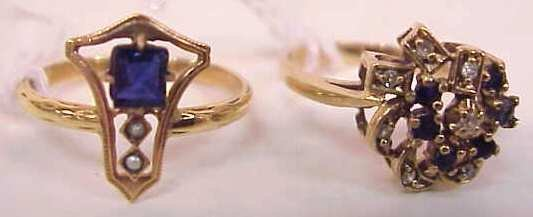2099: TWO 14K YELLOW GOLD RINGS ONE WITH A .50 PT SAPPH