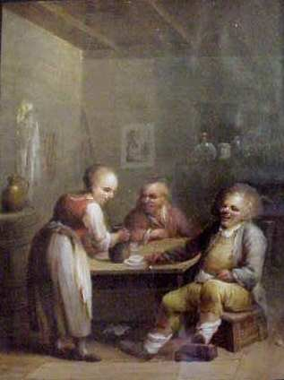 2124: 17THC? TAVERN SCENE WITH FIGURES SEATED AT A TABL