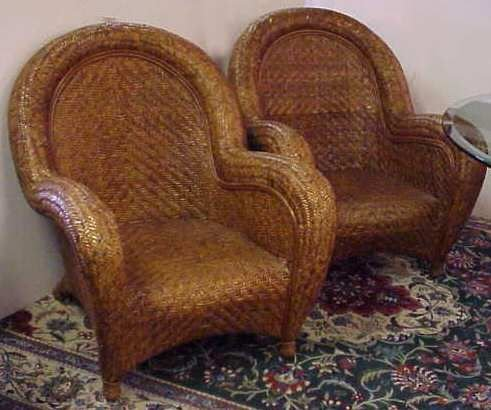 2035: PR RATTAN OVERSIZED ARM CHAIRS