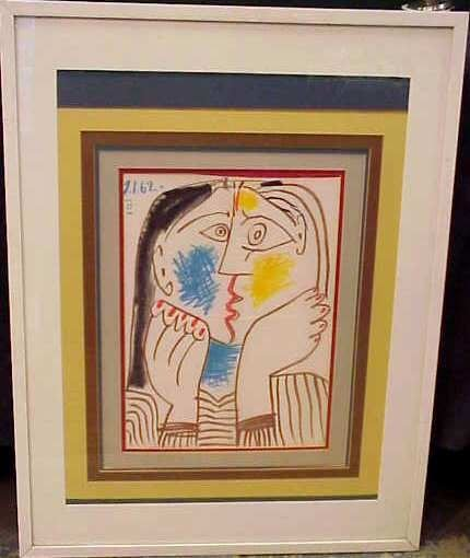 2031A: PICASSO SILK SCARF, MATTED & FRAMED.