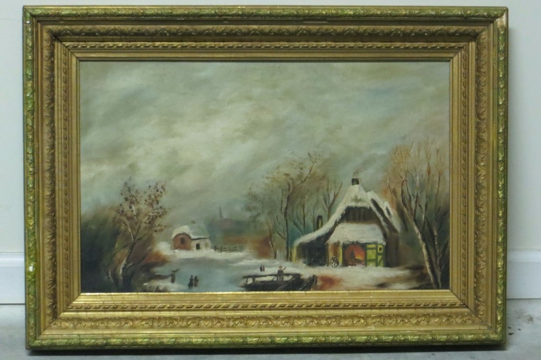 unsigned original oil on canvas painting