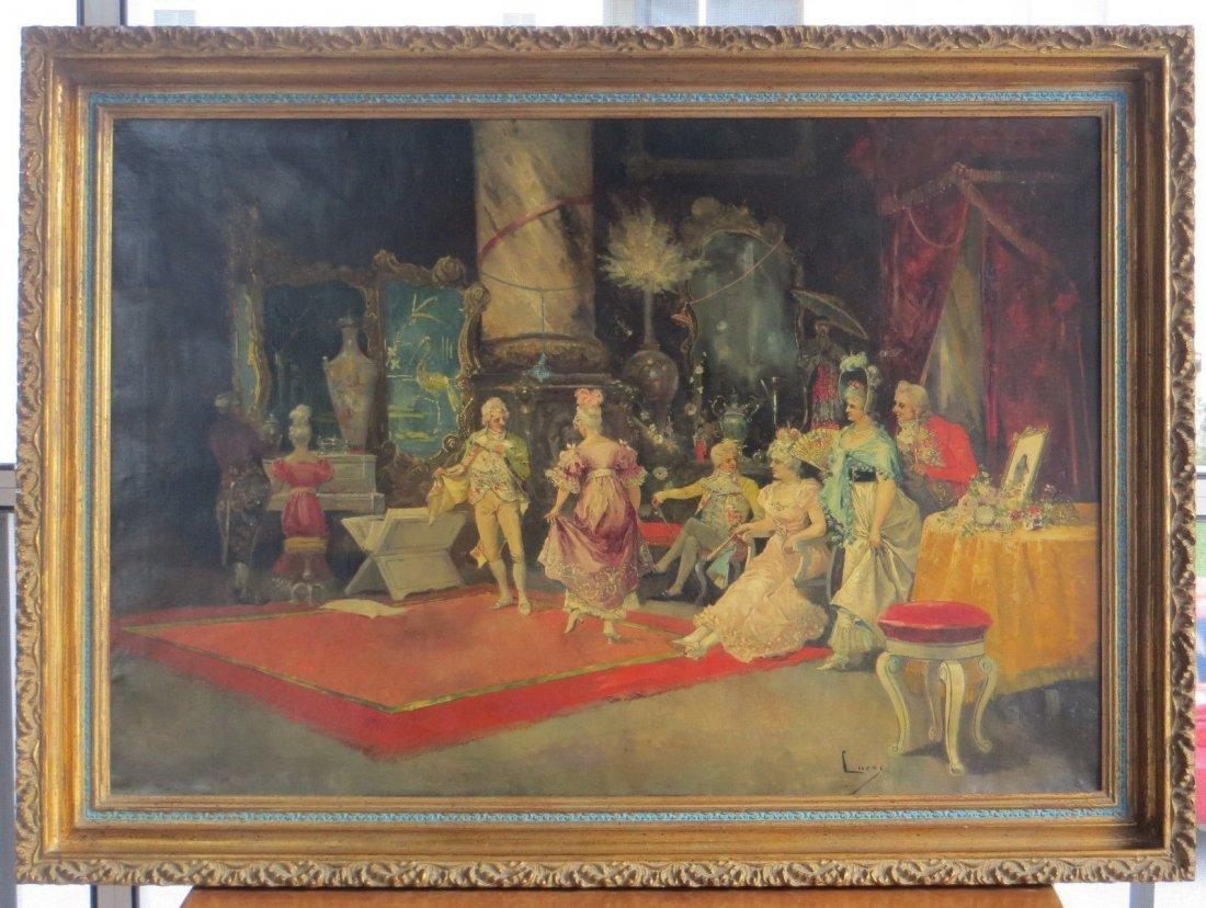 Original EUGENE LUCAS Y VILLAMIL,larg signed oil paint