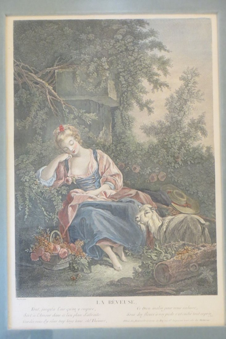 1770 original colored print for Boucher ,La Reveuse